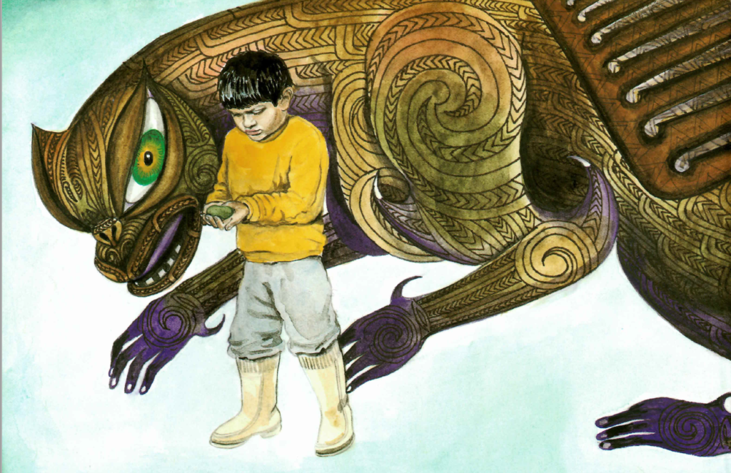 A drawing of a taniwha, a dragon or serpent like creature, with a brownish body, purple feet, and carvings in its sides, and a boy dressed in yellow clothing standing next to it, showing it a rock.