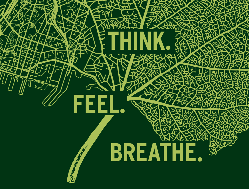 """A green map of Auckland combined with a tree leaf that says """"Think. Feel. Breathe."""""""