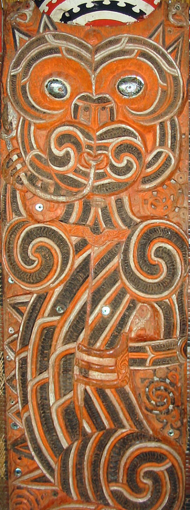 A wooden carving of an image of the Taniwha, engraved by Maori artists from the meeting house Hotunui, 1878