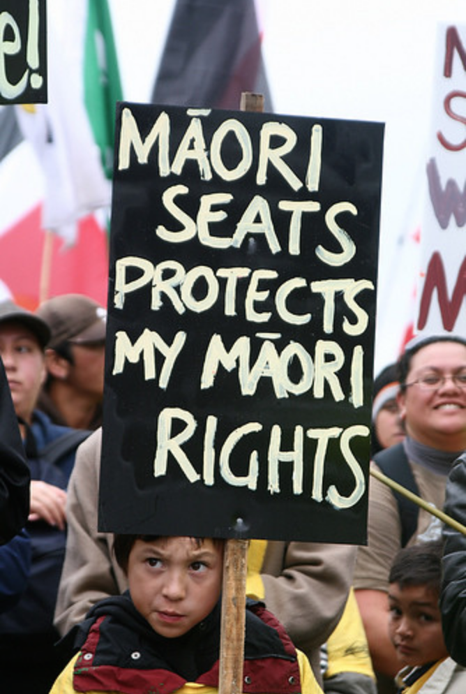 "Child holds up a sign at the Super City Hikoi on May 25, 2009. The sign reads ""Maori seats protect my Maori rights"" in white text on a large black background. The child stands in a crowd with an expression of frustration and defiance on their face."