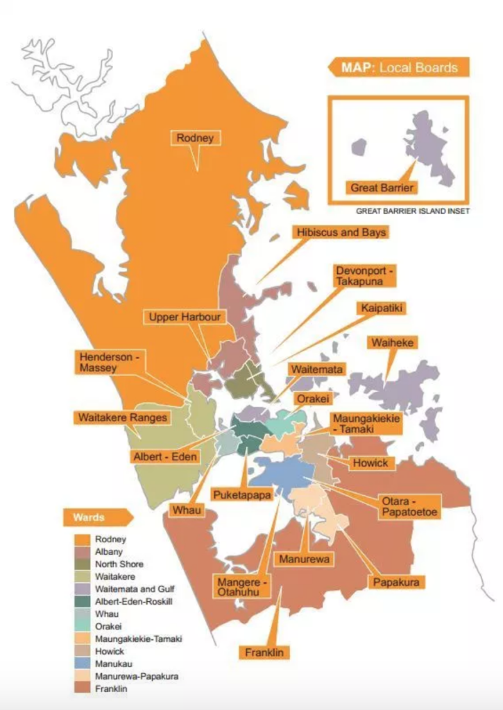 Map of the twenty local boards of Auckland from the Super City plan. The boards to the north and south of the municipal area are much larger, taking up about 50% of the area of the city in combination. The boards in the denser center of the city are much smaller.