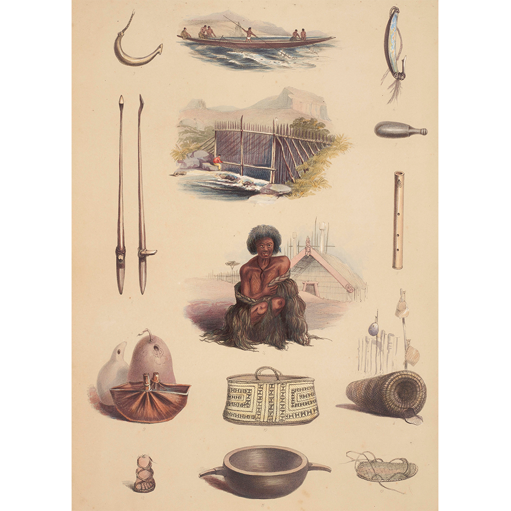 Indigenous Maori representation: tools, utensils, weapons and handicrafts